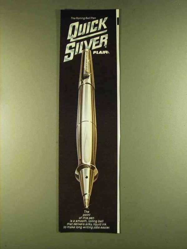 1980 Flair Quick Silver Pen Ad