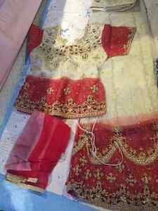 Beautiful Red and Beige Lengha suit / choli