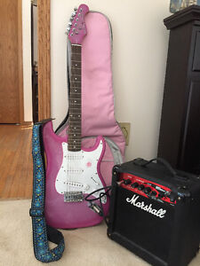 Pink Electric Guitar With Marshall Amp