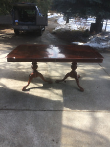 Inlaid Mahogany Double Pedestal Dining room table