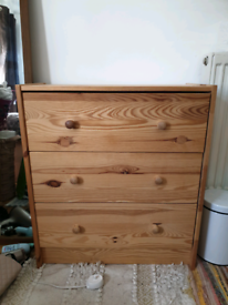 Small natural wood chest of drawers