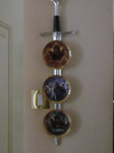Lord of the Rings Collectors Plates Set on Hanging Sword