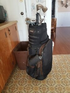 Ladies golf clubs, cart and bag