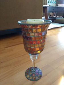 Mosaic Glass goblet candle holder