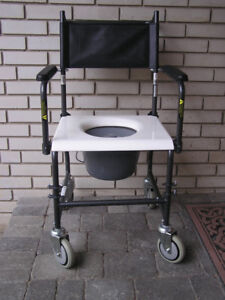 Drive Commode With Wheels, Lid, Padded Back & Handles Like New