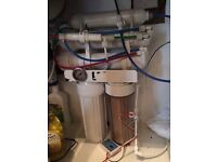 RO water unit 4 stage + Di resin pod and booster pump.