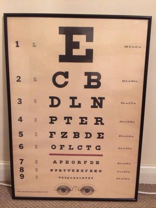 Vintage Opticians Eye Test Chart Print Poster Framed 70 X 50 Cm Retro
