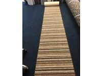 brown striped whipped hallway runner 0.63 X 4m