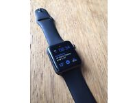 Apple Watch 42mm space grey with black sport strap