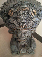 ANTIQUE MEXICAN AZTEC GREEN BLUE STONE STATUE from MEXICO  Art