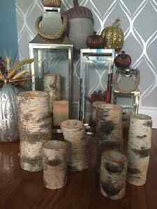 Real solid Birch pilar candle sets/ tall and short/ gorgeous! London Ontario image 3
