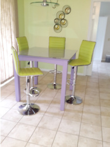 Wooden Pub Table and 4 Swivel Chairs