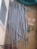 Metal poles from portable car shelter
