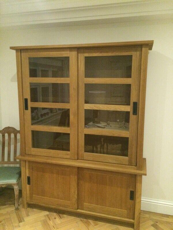 Laura Ashley Oak Milton Cabinet Wood & Glass Shelves Storage Display  Bookcase Dresser Not John Lewis