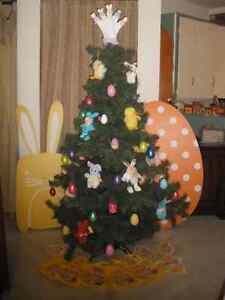 Decorated Easter Tree and Cardboard Bunny & Egg