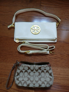 Tory Burch and Coach clutches