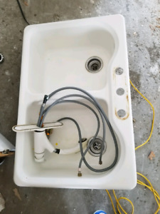 White Cast Iron double sink **NEW PRICE**
