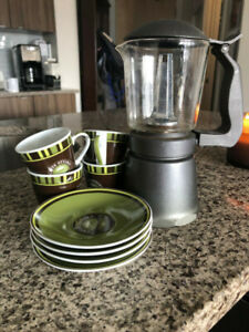 Stovetop Espresso Maker with Cups and Saucers