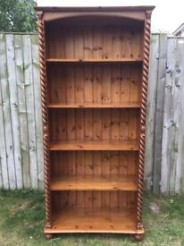 Large pine barley twist book case