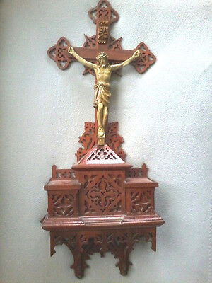 LARGE VINTAGE CARVED WOOD GOTHIC PRIESTS WALL ALTAR CHURCH CRUCIFIX SHRINE