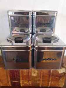 Vintage Stainless Steel Canister Set