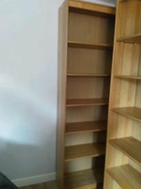 2 oak type shelving / bookcases