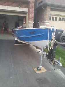 16' Aluminum fishing boat with trailer
