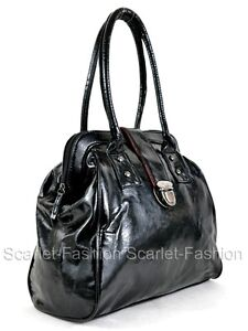 Ladies Womens Designer Patent Leather Style Tote Satchel Briefcase Bag Handbag