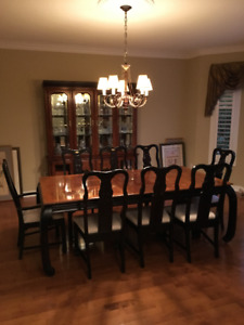 Elegant Dining Room Set Table 8 Chairs Hutch Cabinet