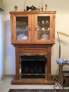 Electric Fireplace with solid oak removable China cabinet