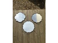 3 x decorative wall mirrors with hanging chains