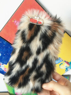 For Mobile Phone Rhinestones Lovely Faux Cheetah Print Fur Furry Hard Cover Case