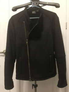 100% Authentic Men Armani Exchange Black Leather Jacket