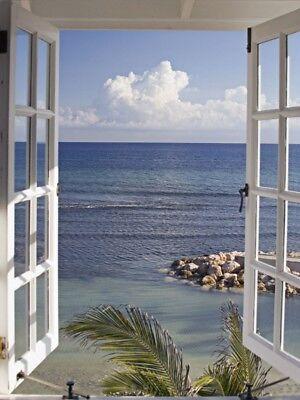 Fenster Poster (Poster oder Leinwand Bild Katja Sucker Landschaften Fensterblick Foto Blau B7DH)
