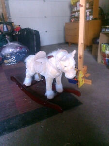 Plush horse on cherry wood for young child or decoration London Ontario image 1