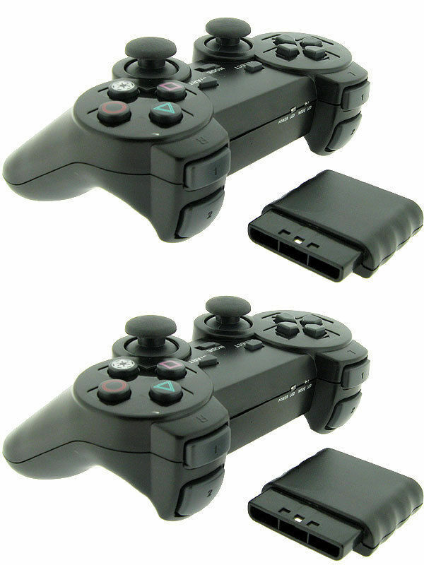 2x For Sony PS2 2.4G Wireless Twin Shock Game Controller Joystick Joypad Controllers & Attachments