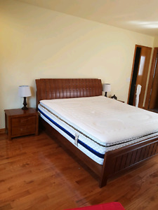 King Bed and Mattress & 2 Side Tables