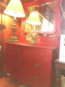 Antique Red Hair Dresser W/ Adjustable Mirror & 2 Red Tables
