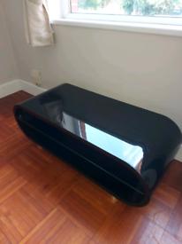 Quality black gloss curved TV unit