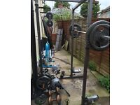 Body max weights 145kg with 7ft Olympic bar & squat rack with cables