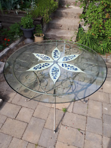Beautiful Round Mosaic Dining Table with Glass Top