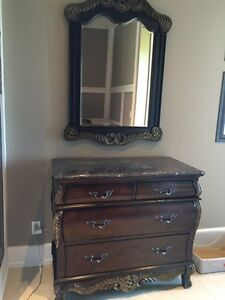 Bombay drawer chest and matching mirror