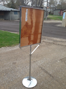 VINTAGE CHROME SIGN STAND 67 INCHES TALL