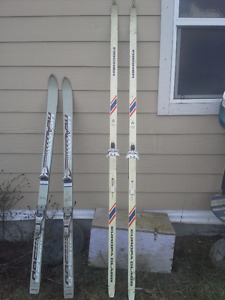 DOWN HILL SKIS AND  CROSS COUNTRY PLUS POLES