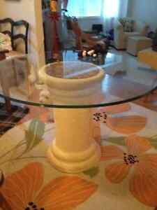 Round glass table with pedestal Peterborough Peterborough Area image 1