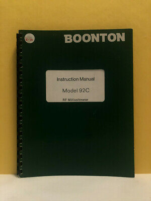 Boonton 1282 Model 92c Rf Millivoltmeter Instruction Manual
