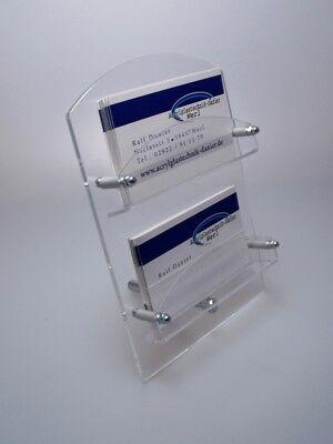 NEU! 2-Fach Visitenkartenständer mit Metallfuß aus Acrylglas,Visitenkartenhalter
