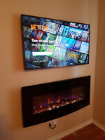 Tv wall mounting with wire concealment