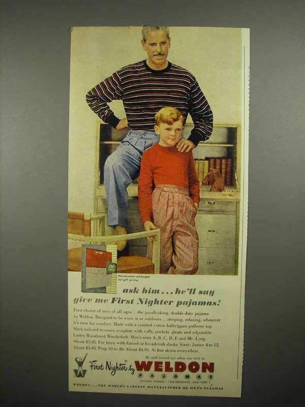 1951 Weldon First Nighter Pajamas Ad - Ask Him