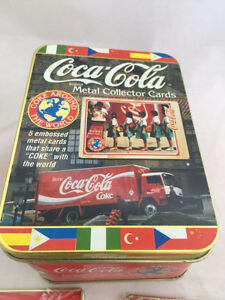 Coca-Cola Metal Collector Cards&Tin in Wrappers 1996 Coke MINT